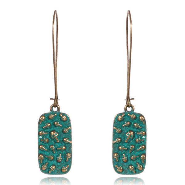 Vintage Verdigris Patina Drop Skull Earrings