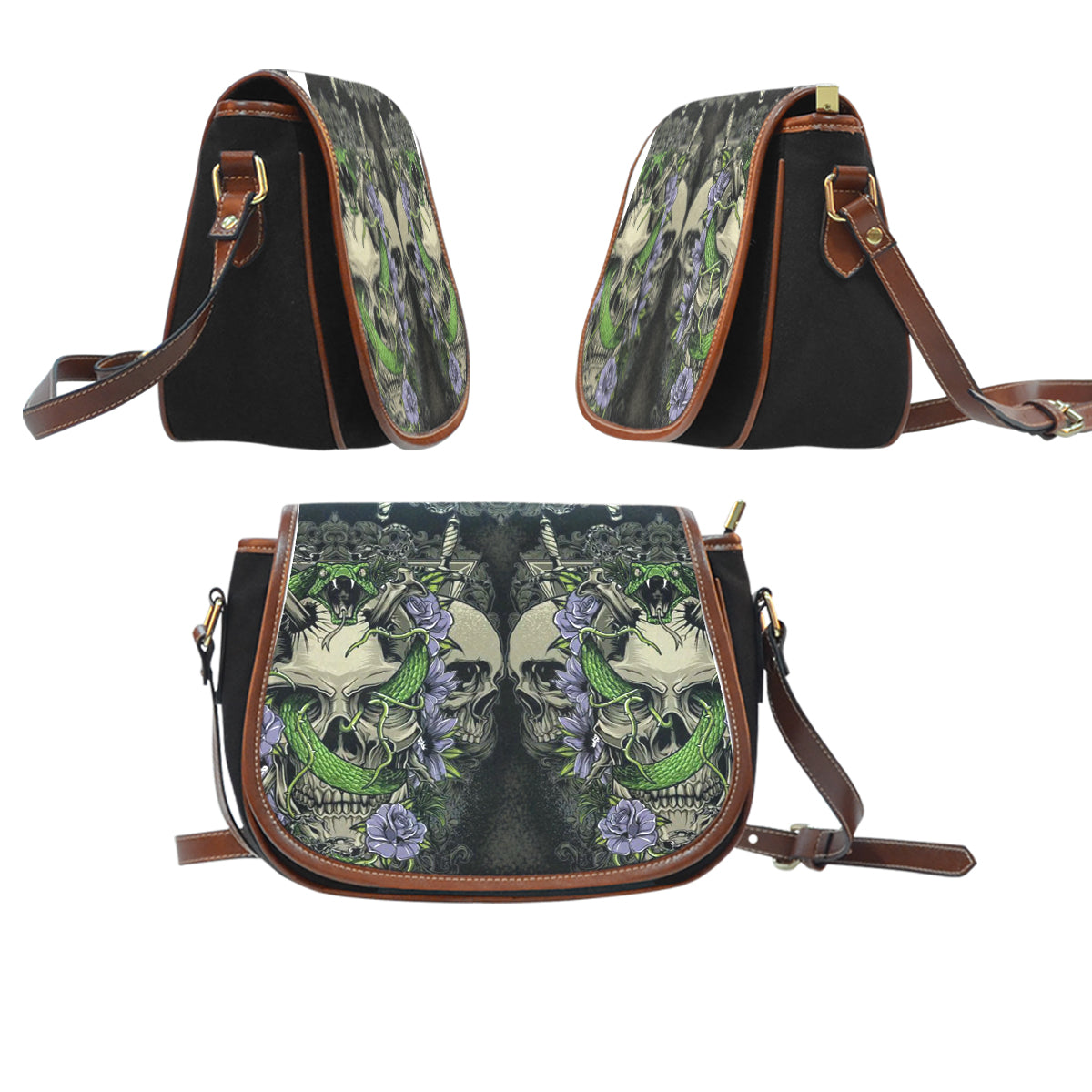 3D Skull Leather Cross-Body Carrying Strap Canvas Saddle Bags 004 - designfullprint