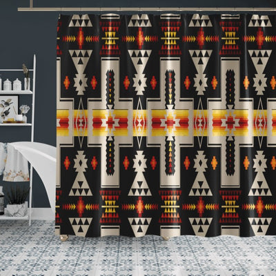 BLACK TRIBAL NATIVE AMERICAN SHOWER CURTAIN