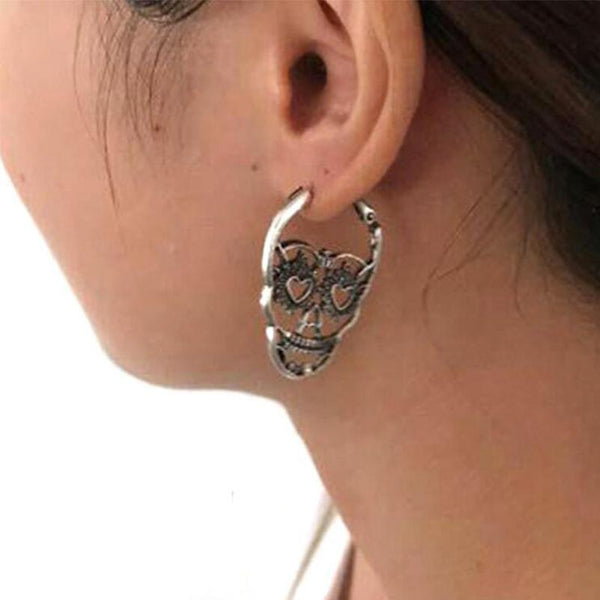 Heart Eyes Skull Hoop Earrings