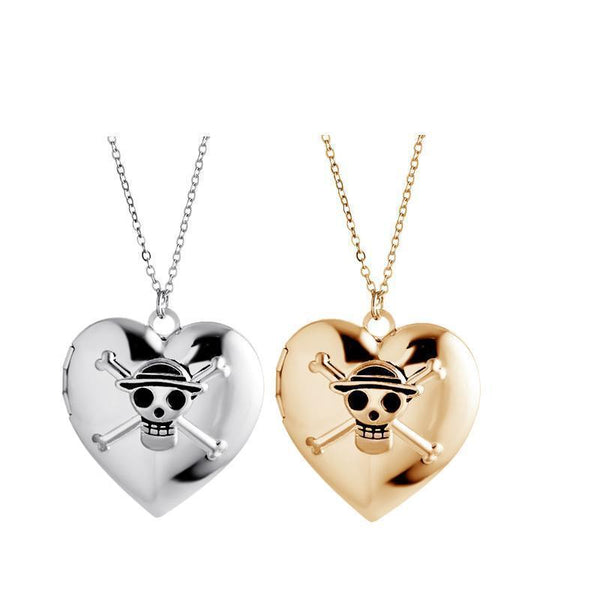 Heart Open Case Locket Engraved Skull Heart Pendant Necklace