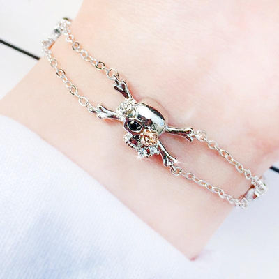 Pirate Rose Skull Charm Bracelet