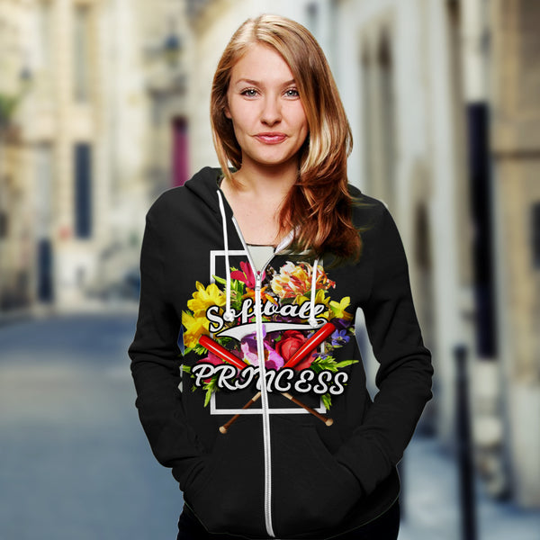 Zip Up Hoodies for Softball lovers - Softball Princess - designfullprint