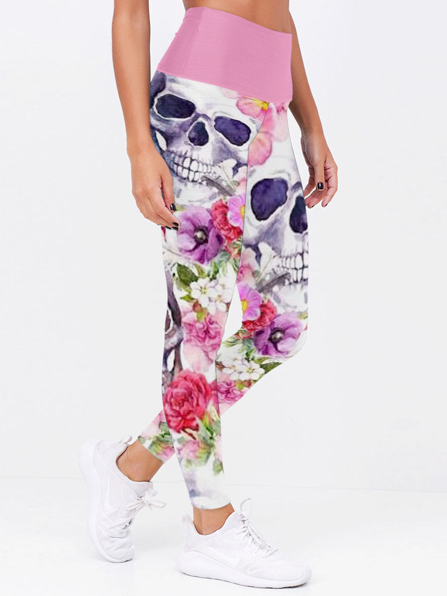 Floral Skull 3D Leggings 03