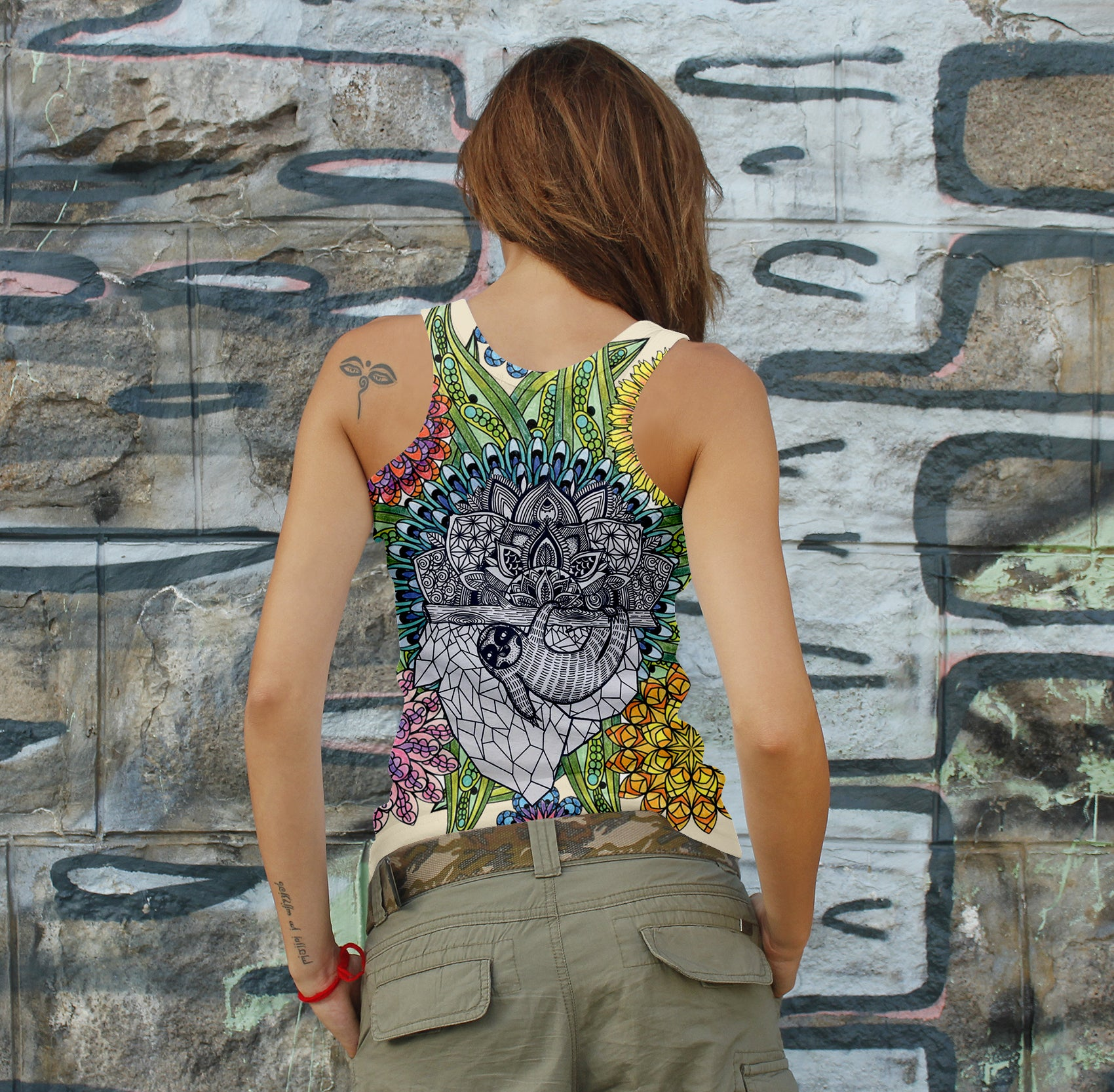Mandala Sloth 3D Woman Tank 04