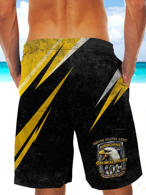 Army Forces Art Ultra-light Drawstring Shorts for Men - AIRBORNE FORCE PARATROOPERS 001 - designfullprint