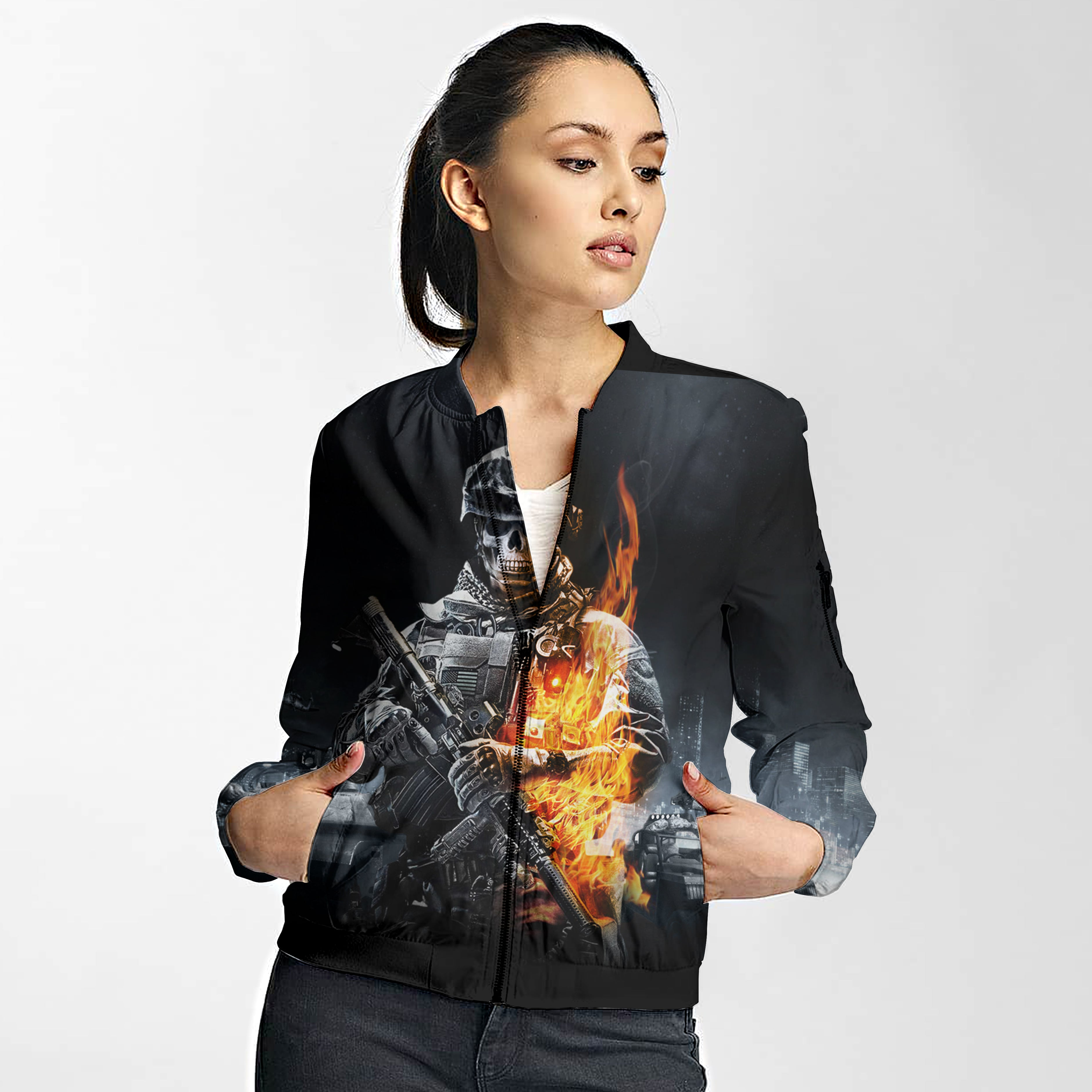 Unisex 3D Bomber Jacket - FireFighter FIRE DEPT.