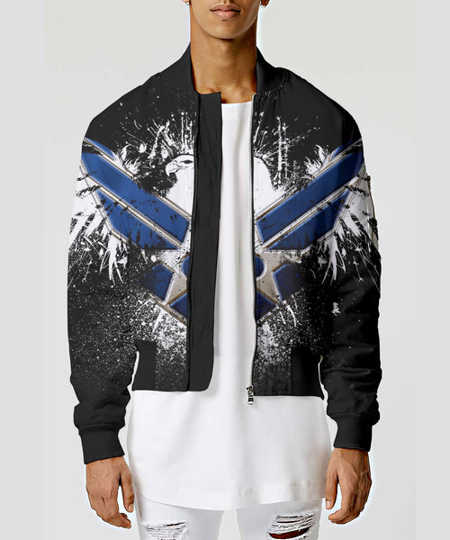 Unisex Couple 3D Army Forces Art Printed Driver Bomber Jacket - Blue Eagle Army Symbol - designfullprint