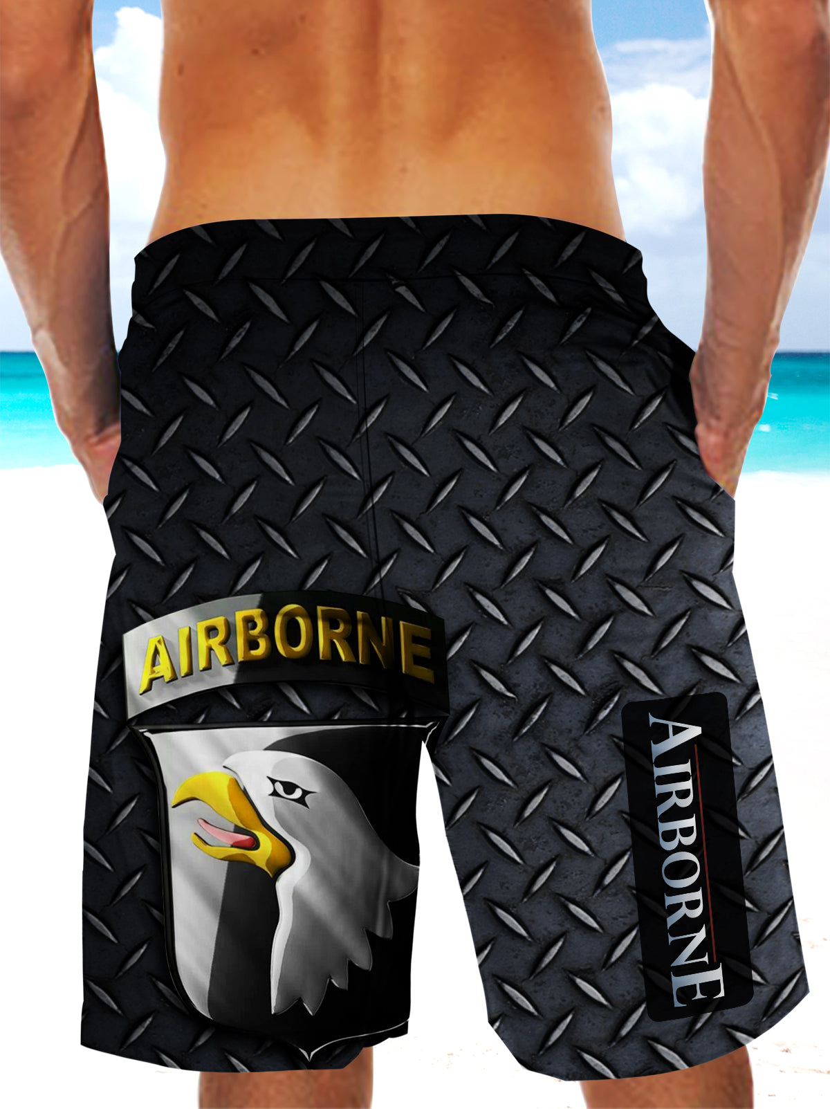 Army Forces Art Ultra-light Drawstring Shorts for Men - AIRBORNE FORCE PARATROOPERS 002 - designfullprint