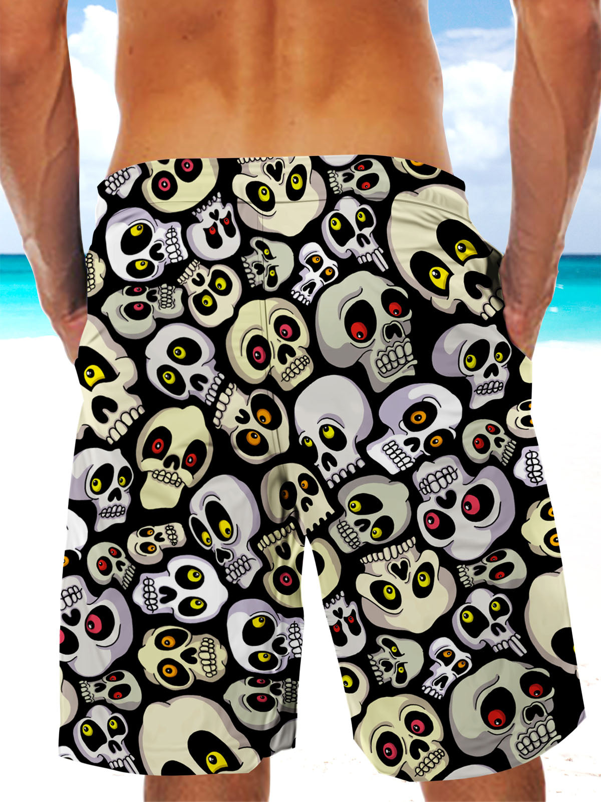 Ultra-light 3D Skull Art-wear Drawstring Shorts for Men 001 - designfullprint
