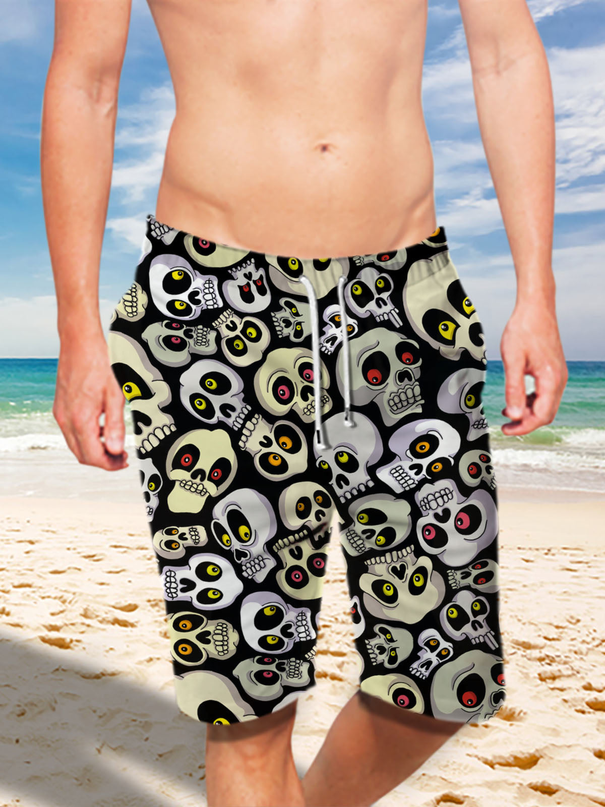 Ultra-light 3D Skull Art-wear Drawstring Shorts for Men 001