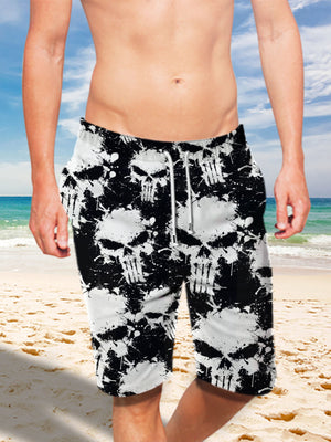 Ultra-light 3D Skull Art-wear Drawstring Shorts for Men 003