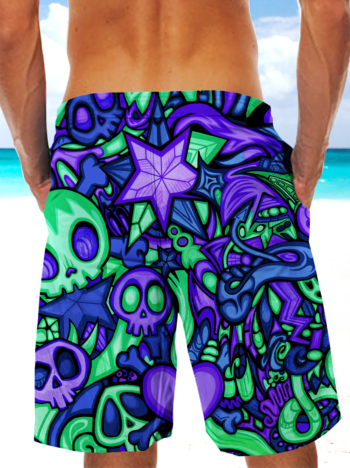 Ultra-light 3D Skull Art-wear Drawstring Shorts for Men 005 - designfullprint