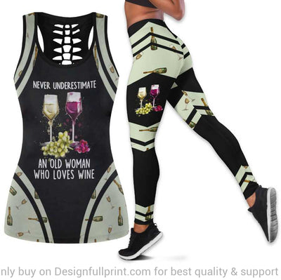 Never Underestimate An Old Women Who Loves Wine Tank Top and Leggings Set