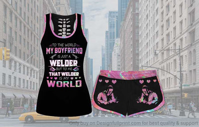 My Welder Boyfriend is My World Tank and Short Set