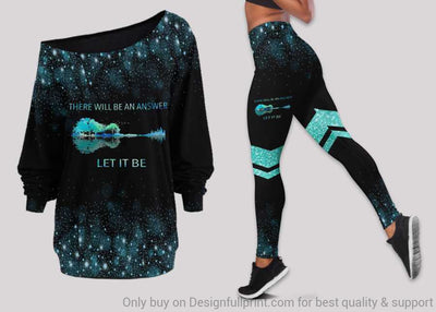 New Let It Be Off Shoulder Long Sleeves Top and Leggings Set