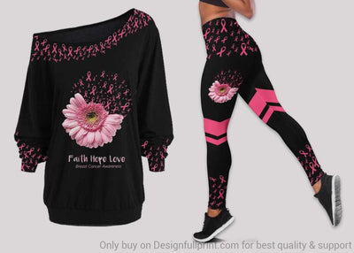 Faith Hope Love Breast Cancer Off Shoulder Long Sleeves Top and Leggings Set
