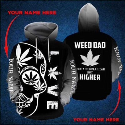 Personalized Gray Weed Dad US Unisex Hoodie