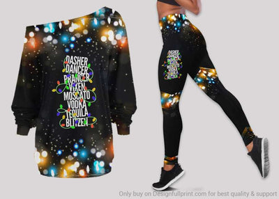 Dasher Dancer Prancer Vixen Moscato Vodka Tequila Blitzen Off Shoulder Long Sleeves Top and Leggings Set