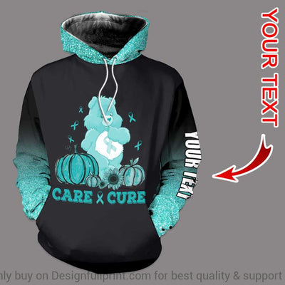 Teal Care And Cure Bear Cancer Personalized US Unisex Hoodie