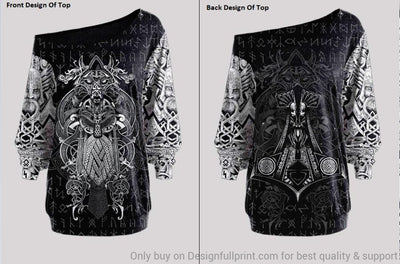 Viking Odin Tattoo Off Shoulder Long Sleeves Top and Leggings Set