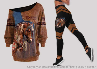 Love Horse Off Shoulder Long Sleeves Top and Leggings Set