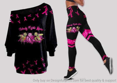 Turtle And Breast Cancer Ribbon Off Shoulder Long Sleeves Top and Leggings Set
