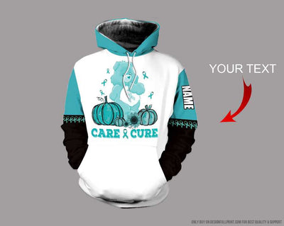 Ovarian Cancer Care And Cure Bear Personalized US Unisex Hoodie