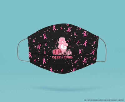Breast Cancer Care And Cure Bear Mask 3 pack