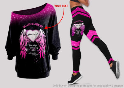 Personalized In Loving Memory Your Wings Were Ready But Our Hearts Were Not Off Shoulder Long Sleeves Top and Leggings Set HG