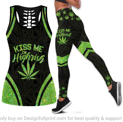 Pot Leaf Kiss Me Im Highrish Tank Top And Leggings Set