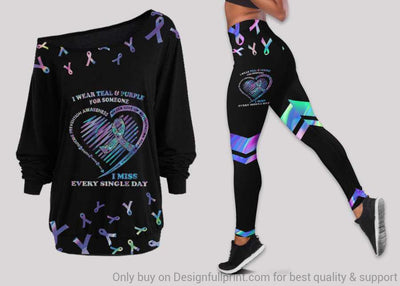 Suicide Awareness Off Shoulder Long Sleeves Top and Leggings Set