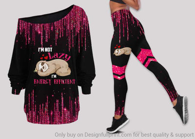 Pink I'm Not Lazy I'm Energy Efficient Sleep Sloth Off Shoulder Long Sleeves Top and Leggings Set