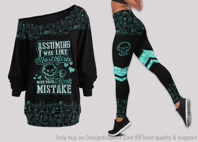 Assuming I Was Like Most Girls Was Your First Mistake Gamer Girl Off Shoulder Long Sleeves Top and Leggings Set