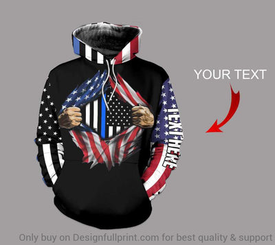 Personalized The Blue And US Flag Us Unisex Hoodie