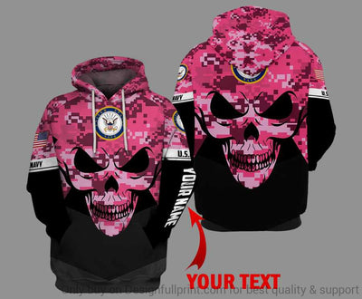 Personalized Pink Skull US Navy Unisex Size Hoodie
