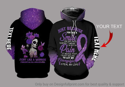 Fibromyalgia Awareness Skull Girl Personalized US Unisex Size Hoodie
