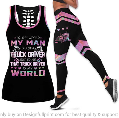 My Man My Truck Driver Is My World Trucker Wife Tank Top and Leggings Set