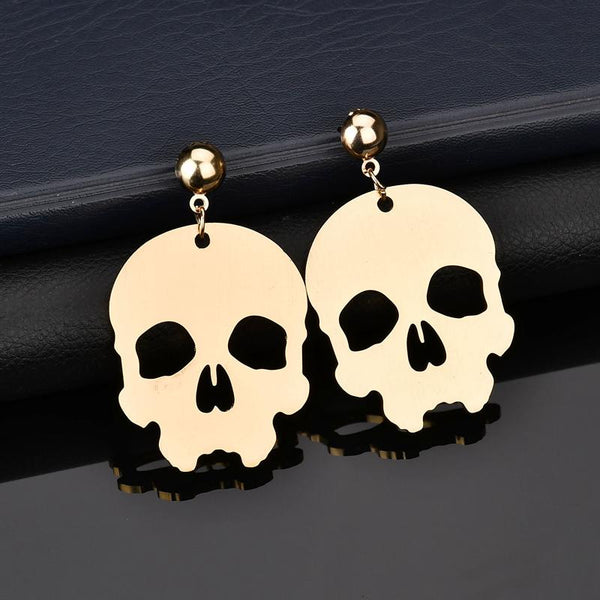 Aluminum Gold Skull Head Stud Earrings