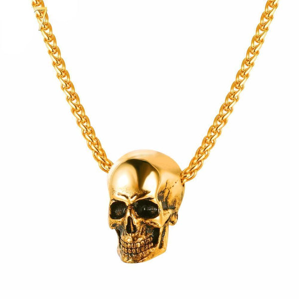 Skull Head Stainless Steel Gothic Biker Necklace - designfullprint