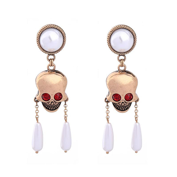 Pearls Skull Long Drop Earrings