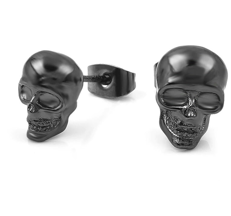 Cool Unisex Skull Silver Like Stud Earrings - designfullprint