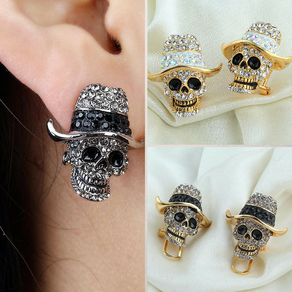 Punk Skull Hat Clip On Earrings