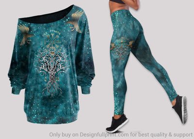 Viking Compass Yggdrasil Tattoo Off Shoulder Long Sleeves Top and Leggings Set