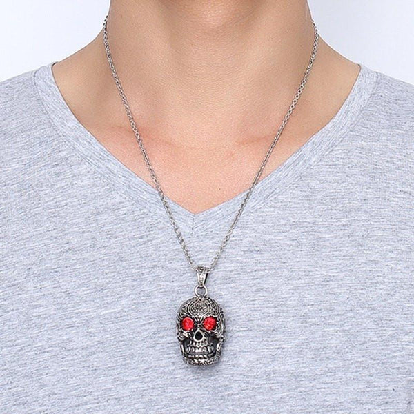 Stainless Steel Gothic Skull Necklace - designfullprint