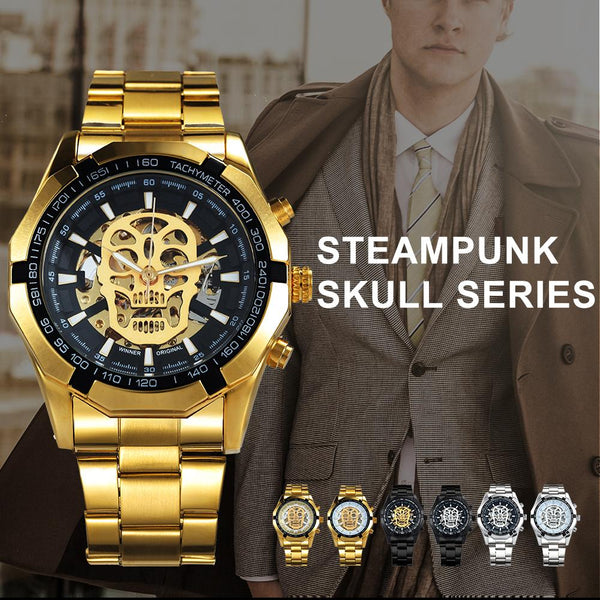 Men Skull Stainless Steel Auto Mechanical Wrist Watch