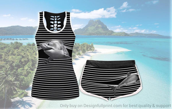 White Shark Striped Tank and Shorts Set