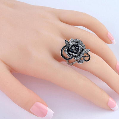 Retro Vintage Rose Pattern Punk Ring - designfullprint