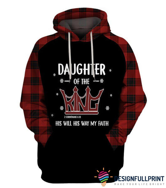 Daughter of The King Christmas Red Tartan Hoodie