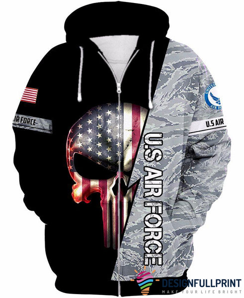 US Air Force Skull US Unisex Size Zipup Hoodie